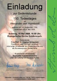 Einladung 150. Todestag Alexander von Humboldt